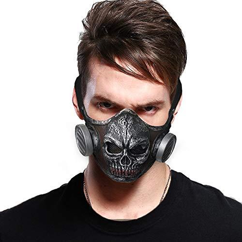 ReneeCho Steampunk Skull Gas Mask Halloween Costume Latex Half Mask, Adult Size