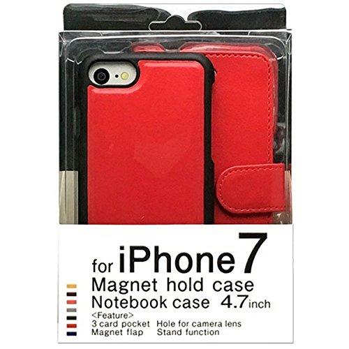 iPhone7用手帳型ケース マグネットタイプ レッド BJMG-IP7RD