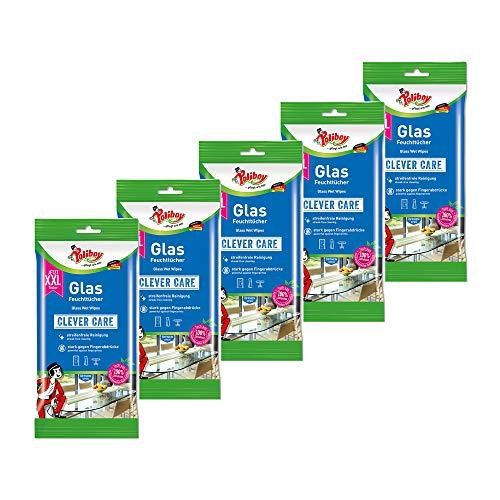 Poliboy – Salviette umidificate XXL in vetro – Pulizia rapida – per i piccoli problemi quotidiani – Singole – 5 x 24 – Made in Germany