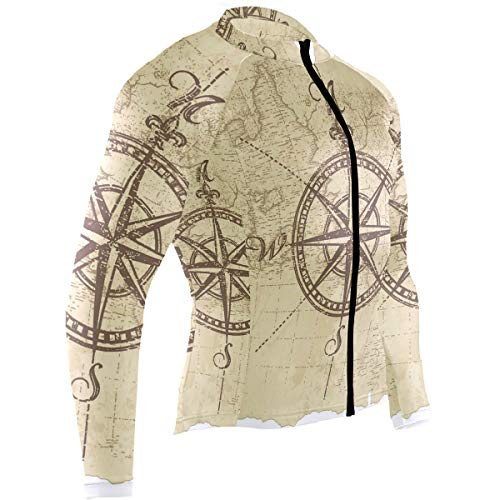 Compass Rose Drawings Mens Cycling Jersey Shirts Long Sleeve Road Bicycle Wear Outfit