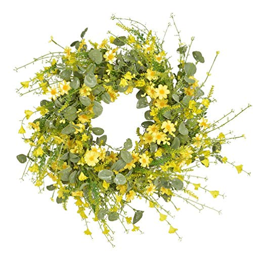 Artificial Yellow Daisy Wreath Front Door Decor - Faux Floral Wreath Hanging Wreath for Easter Home Decoration, 24 Inches