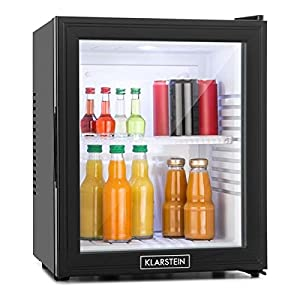 Klarstein MKS-13 Black Edition - Nevera Vinoteca, Minibar, Mininevera, Volumen 32 litros, Clase de eficiencia energética A, Silencioso 0 dB, Bajo Consumo, Puerta Cristal, Negro
