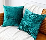 PANDATEX Pack of 2 Luxury Crushed Velvet Teal Throw Pillow Covers for Sofa Couch Chair, 18'x 18' Square Decorative Plush Pillowcases Cushion Cover for Bedroom Livingroom Car
