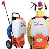 PetraTools Powered Backpack Sprayer with Custom Fitted Cart and 100 Foot Commercial Hose,...