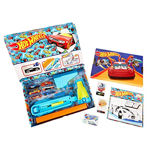 Hot Wheels Hw Celebration Box Complete Starter Set with 6 Hot Wheels 1:64 Scale Cars, Track, Connectors, 4-Speed Launcher, Ramps, Activity Page & Stickers, Gift for Kids 4 Years Old & Up