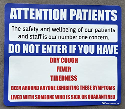 """""""Attention Patients"""" Do Not Enter with COVID-19 (Coronavirus) Symptoms, Adhesive Durable Vinyl Decal- Sign by Graphical Warehouse- Various Sizes and Colors Available (14x12', Blue)"""