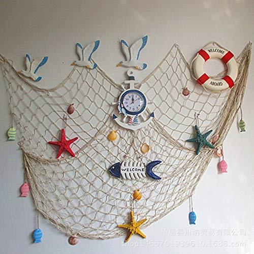 RUICK - Decorazione da parete con rete da pesca, ideale come decorazione per la spiaggia e la porta, in stile Mediterraneo, ideale come sfondo per decorazioni da parete (beige con conchiglia)