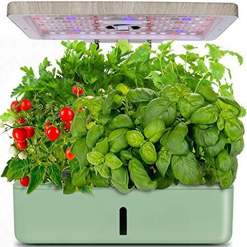 Indoor Hydroponic Garden, Hydroponics Growing System, Indoor Herb Garden Starter Kit with LED Grow Light, Inside Garden Growing System,Automatic Timer Plant Germination Kits (12 Pods)