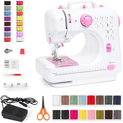 Best Choice Products Compact Sewing Machine, Multifunctional Portable 6V Beginner Sewing Machine w/ 12 Stitch Patterns, Light, Foot Pedal, Storage Drawer - Pink/White