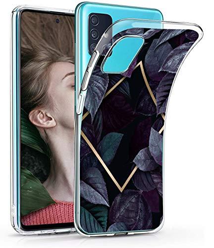 vivio Compatible avec Coque Samsung Galaxy A71 Cover, Transparente Silicone avec Feuilles Vertes Housse Flexible en Premium TPU Antichoc Protection Case Cover Ultra Mince Gel Bumper Case (Noir)