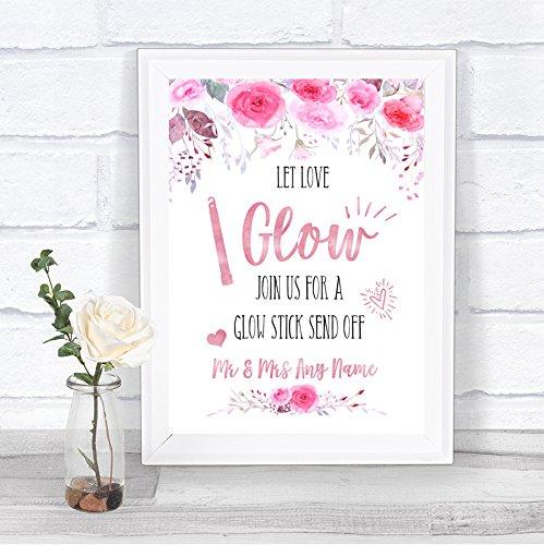 Roze aquarel bloemen laat liefde gloed Glowstick gepersonaliseerde bruiloft teken Framed Oak Small roze