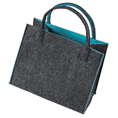 LaFiore24 Hochw. Filztasche Einkaufstasche Filz Shopper Festival Damen Handtasche grau-türkis