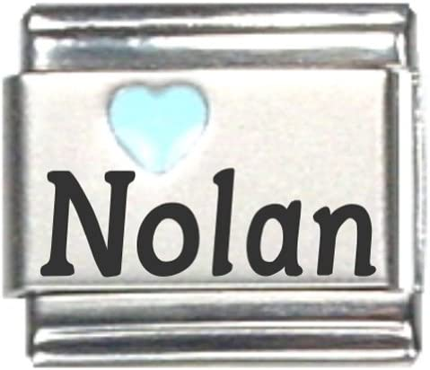 Nolan San Diego OFFicial store Mall Light Blue Heart Laser Italian Link Charm Name