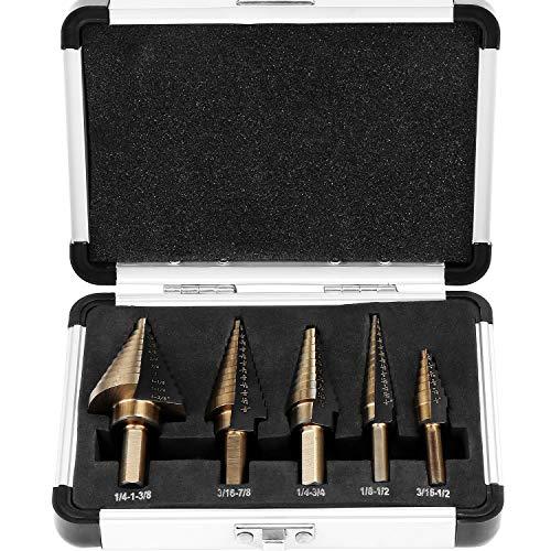 HSEAMALL Juego de 5 brocas de acero de alta velocidad HSS; juego de brocas de cono de 50 tamaños, cuchillas de doble corte para madera, acero inoxidable, chapa de metal