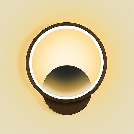 Kimjo Applique Murale Interieur LED 12W Lampe Murale 3000K Blanc Chaud Luminaire Mural, AC 220V Luminaires Intérieur Noir Decoration Murale pour Chambre Salon Couloir Escalier Mur