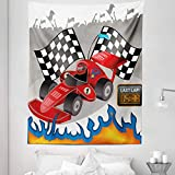 Lunarable Cars Tapestry Twin Size, Race Car Finish Line Flags Pilot Flames Abstract Plain Background Print, Wall Hanging Bedspread Bed Cover Wall Decor, 68' X 88', Grey Red