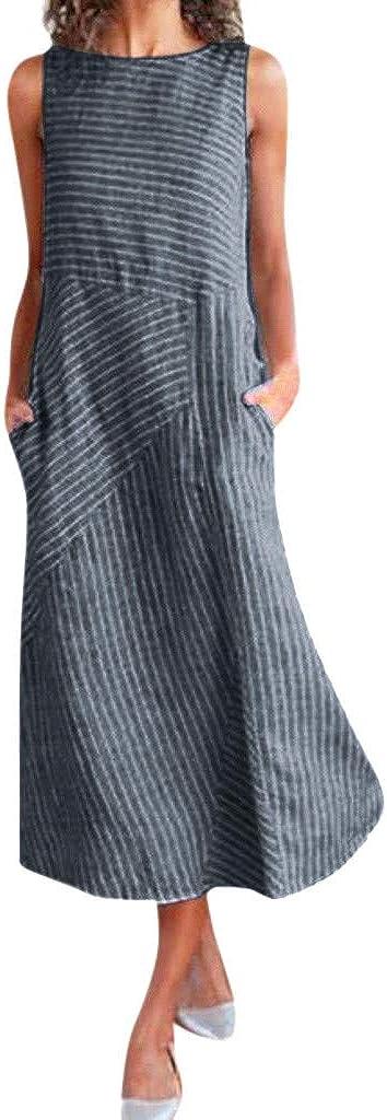 Women Vintage Linen Dresses Casual Loose O Neck Striped Sleeveless Maxi Dress with Pocket Beach Dress Wear to Work Dress