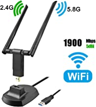 Wireless USB WiFi Adapter, 1900Mbps Dual Band 2.4GHz/600Mbps 5.8GHz/1300Mbps High Gain 5dBi Antennas USB 3.0 Wireless Network Adapter for PC Desktop Laptop Support Windows XP/Vista/7/8/10 Linux Mac