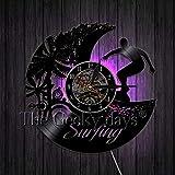 xcvbxcvb Reloj de Pared con Disco de Vinilo de diseño Moderno para decoración de Pared de Surf, Reloj de Tiempo con Tema de Surfista de Playa con luz de Fondo Colorida