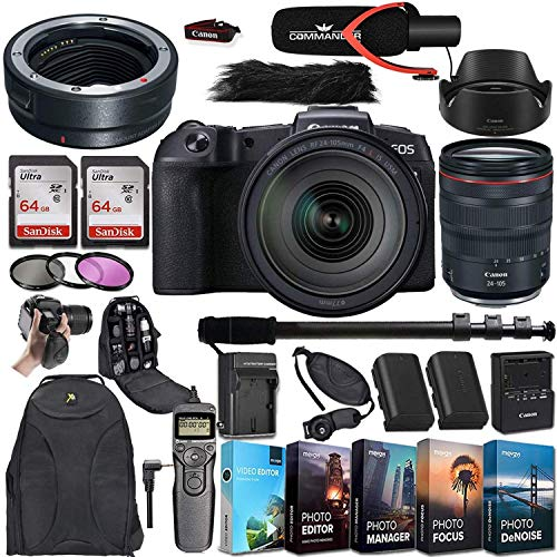 Canon EOS R Mirrorless Digital Camera with RF 24-105mm f/4L is USM Lens and Mount Adapter EF-EOS R Bundled + Deluxe Accessories