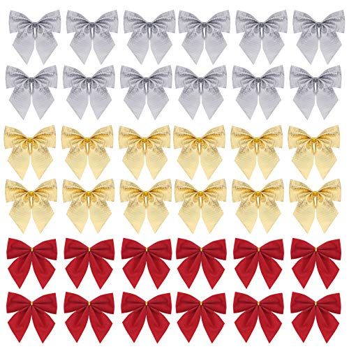 90 Pcs Christmas Tree Bows, Fengek 2.36 Inch Mini Ribbon Bows Ornaments for Christmas Decoration Gift Wrap Supplies, 3 Color