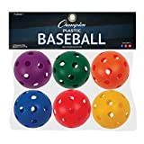 Champion Sports Plastic Baseball, Assorted Colors, Set of 6 , 9""
