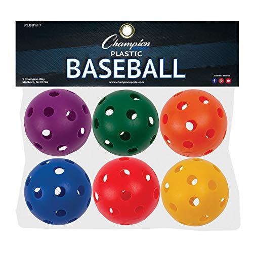 Champion Sports Plastic Baseball, Assorted Colors, Set of 6 , 9'