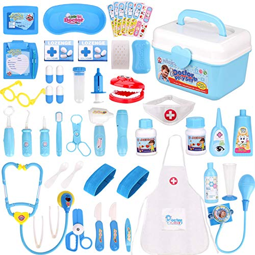 Fabur 49 Piezas Maletín de Médico de Juguete, Juego de rol Médico Dentista Enfermera Kit Clínica Dental Juego para Niños Fingir Juego Herramientas Juguete Set Regalos para Niños (Azul) ✅