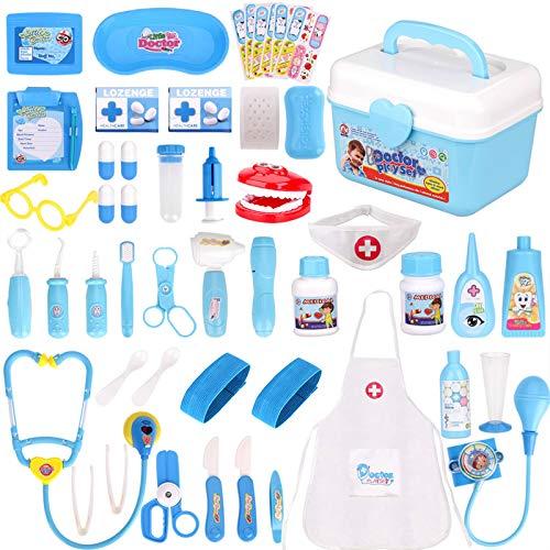 Fabur 49 Piezas Maletín de Médico de Juguete, Juego de rol Médico Dentista Enfermera Kit Clínica Dental Juego para Niños Fingir Juego Herramientas Juguete Set Regalos para Niños (Azul)