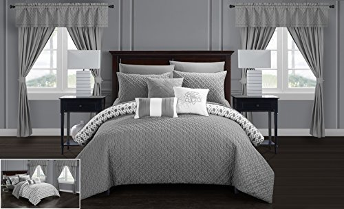 Chic Home Sigal 20 Piece Comforter Set Reversible Geometric Quilted Design Complete Bed in a Bag Bedding – Sheets Decorative Pillows Shams Window Treatments Curtains Included Queen Grey