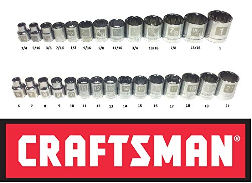 """Craftsman Laser Etched Easy Read 28 Piece SAE Standard & Metric 3/8"""" Drive 12 Point Shallow Socket Set"""