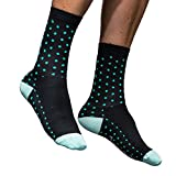 Borvelo Men's Dot Cycling Socks, Compression Mtb Bike Socks, Outdoor Sport Socks Hiking Running Sock Ankle-Long(Black)