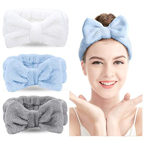 Spa Stirnband - 3er Pack Bogen Haarband Frauen Gesichts Make-up Kopfband Weichkorallen Fleece Kopfwickel für die Dusche Gesicht waschen (Mehrfarbig G)