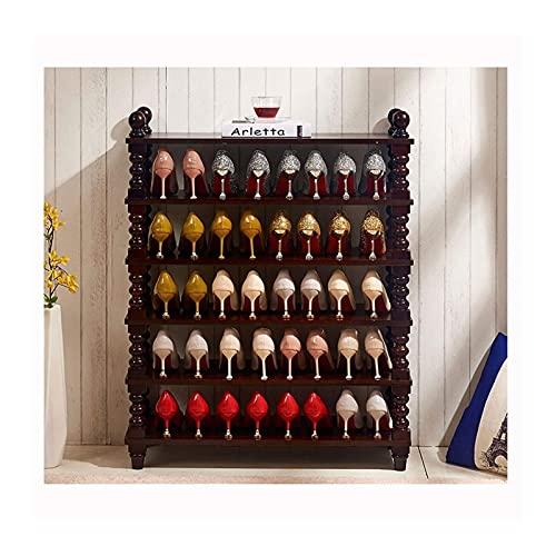 Zapatero Zapatero de 6 niveles Zapatero grande de madera Estante para almacenamiento de zapatos Organizador Torre de zapatos Soporte para entrada Sala de estar Pasillo Almacenamiento de zapatos (Color