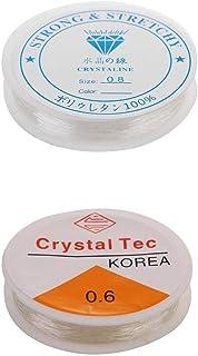Hellery 2 x elastische stretchdraad Elastic Line witte draad helder wit 0,6 mm + 0,8 mm