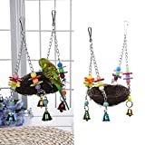 Keersi Natural Rattan Nest Bird Swing Toy with Bells for Parrot Budgie Parakeet Cockatiel Conure Lovebird Finch Cockatoo African Grey Cage Perch Stand