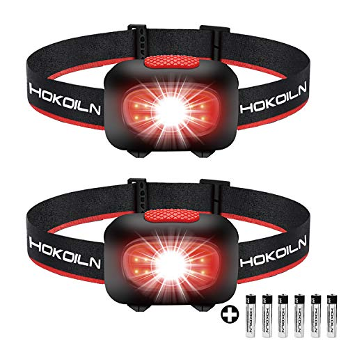 HOKOILN LED Headlamp Flashlight [2PACK] - Running, Camping and Outdoor Headlamps - 5 Modes Adjustable Head Lamp with Red COB Safety Light for Adults and Kids, 6 x AAA Alkaline Batteries (Included)