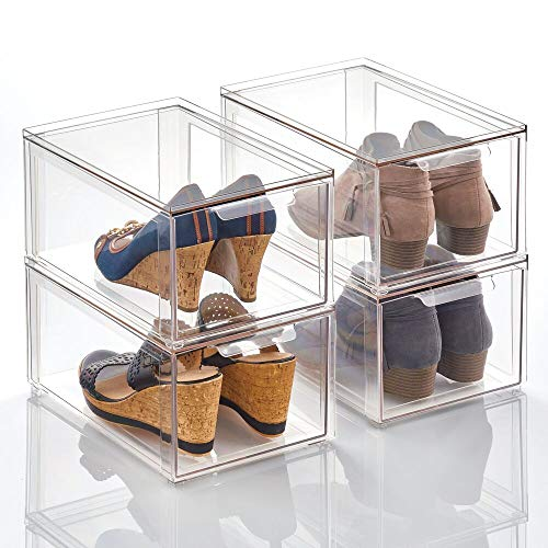 mDesign Plastic Stackable Closet Storage Box with Pull-Out Drawer - Container for Organizing Men's and Women's Shoes, Sandals, Wedges, Flats, Heels, and Accessories - 4 Pack - Clear