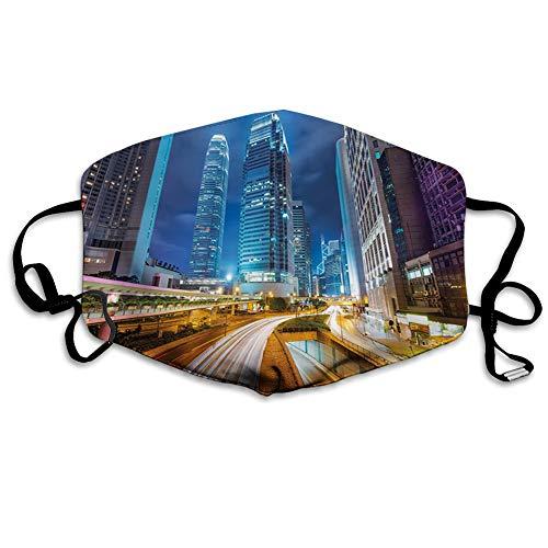 MundschutzWiederverwendbarerMundschutzimFreien,Fast Moving Cars at Hong Kong Highways Modern Life Speed Traffic Nighttime in The City,NahtloseRänderAußenabdeckungen Gesichtsbedeckung