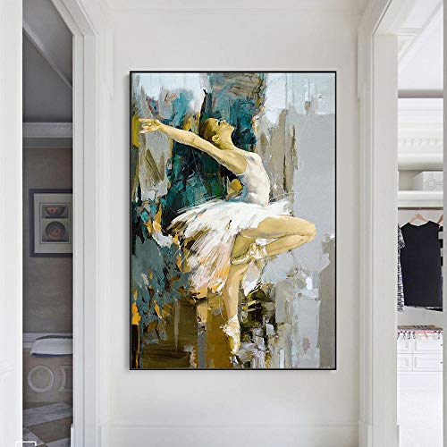 IGZAKER Sexy Ballerina Abstracte Canvas Schilderijen aan de Muur Kunst Posters En Prints Danseres Meisje Canvas Kunst Foto's voor Woonkamer Muur-50x75cm geen frame
