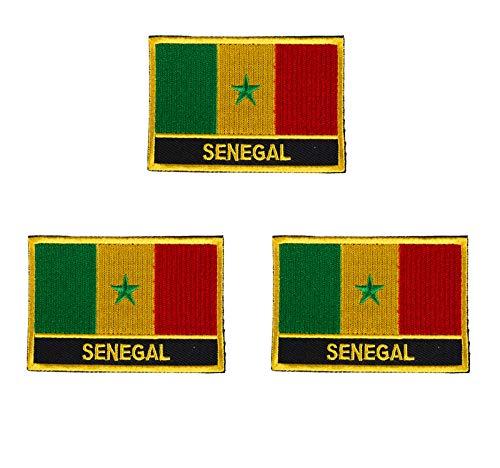 Senegal-Flaggen-Aufnäher, bestickt, zum Aufbügeln oder Aufnähen, 3 Stück