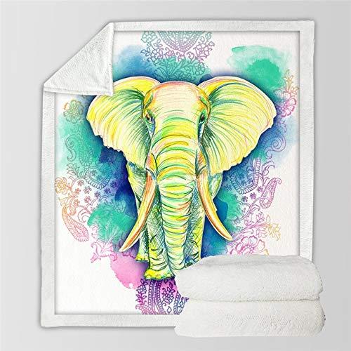 Outlet Super Soft Cozy Dekbedovertrekset, fluweeldeken, regenboog-olifant, moderne lijnen, voor op de bank, werp of op reis. 75cmx100cm G