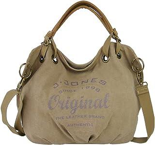 J JONES JENNIFER JONES Große Damen Handtasche aus Canvas und Echtleder Vintage Look Casual Schultertasche Umhängetasche Fa...