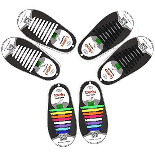 3 set No Tie Lacci per scarpe per bambini e adulti,Impermeabile in silicone elastico piatto Laces,48 pezzi Colori arcobaleno bianco nero, tre set Lacci per scarpe pigri