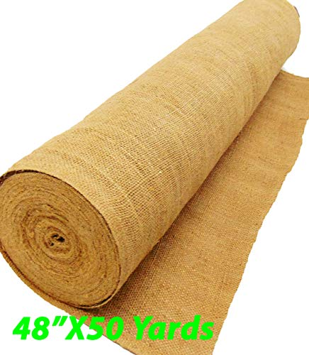 AAYU Brand Premium Burlap fabric Liner Roll | 48 inch x 10 oz 50 Yards | DIY Burlap | Weed Barrier | Eco-Friendly, Natural Jute fabric Roll, 4ft x 150ft long wedding aisle runner
