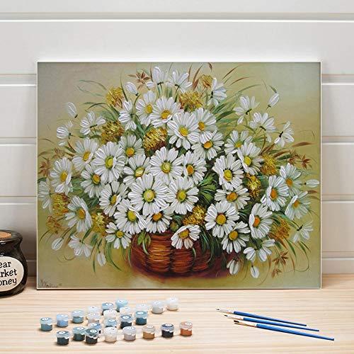 JieXi Mi binbin Ausmalbilder nach Zahlen Blumen acrylfarbe DIY stillleben leinwand malerei wandkunst für Wohnzimmer dekor Erwachsene Zeichnung 40x50cm-kein Rahmen