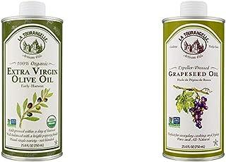 La Tourangelle, Organic Extra Virgin Olive Oil, 25.4 Fl Oz & Grapeseed Oil 25.4 Fl Oz, All-Natural, Artisanal, Great for C...