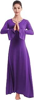Womens Praise Bell Long Sleeve Dance Dress Loose Fit Full Length Liturgical Lyrical Worship Dancewear