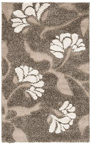 Safavieh Florida Shag Collection SG459-7913 Floral Textured 1.18-inch Thick Area Rug, 2' 3' x 4', Smoke/Beige