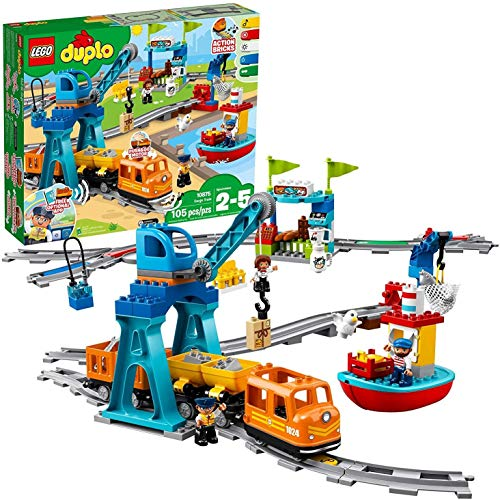 LEGO DUPLO Cargo Train 10875 Battery-Operated Building Blocks Set, Best Engineering and STEM Toy for Toddlers.